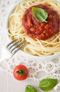 Pasta with tomato sauce and basil Stock Photos