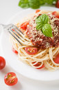 Pasta with tomato sauce and cheese tomatoes Stock Images