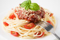 Pasta with tomato sauce and cheese tomatoes Royalty Free Stock Photography