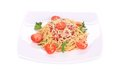 Pasta with tomatoes and parmesan isolated on a white background Royalty Free Stock Photo