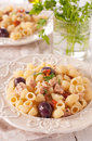 Pasta with tuna and dried tomato Stock Photography