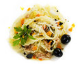 Pasta with tuna meat and olives Stock Image