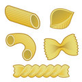 Pasta types in vector illustration Royalty Free Stock Photography
