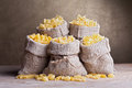 Pasta variety in burlap bags Royalty Free Stock Images