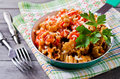 Pasta with vegetable sauce Royalty Free Stock Photo