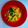 Pasta with vegetables, zucchini flowers, saffron and mint Royalty Free Stock Photo