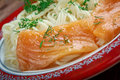 Pasta vermicelli with salmon close up Royalty Free Stock Photo