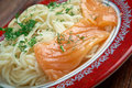 Pasta vermicelli with salmon closeup Royalty Free Stock Photo