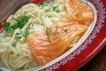 Pasta vermicelli with salmon closeup Royalty Free Stock Photo