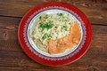 Pasta vermicelli with salmon closeup Royalty Free Stock Photos
