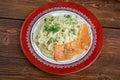 Pasta vermicelli with salmon closeup Royalty Free Stock Photos