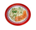 Pasta vermicelli with salmon closeup isolated on white background Stock Photos