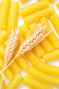 Pasta with wheat ears Stock Photos