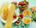 Pasta on a wooden table different types of Royalty Free Stock Photography