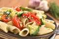 Pasta with Zucchini and Tomato Royalty Free Stock Image