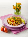 Pasta with zucchinis flower Royalty Free Stock Photography