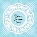 Pastel Aqua Lace Doily Frame, Polka Dot Background Stock Photo
