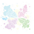 Pastel background with white mandala on colorful circle blobs.