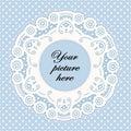 Pastel Blue Lace Doily Frame, Polka Dot Background Royalty Free Stock Photo