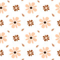 Pastel brown and pink flowers seamless pattern background illustration Royalty Free Stock Photo