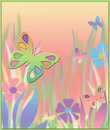 Pastel Butterfly and Floral Blurred Background Stock Images