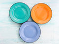 Pastel Color ceramic plate dish top view background Royalty Free Stock Photo