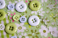 Pastel colored buttons differently sized on table in soft green and blue Stock Images