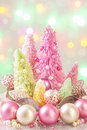 Pastel colored christmas trees