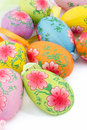 Pastel colored decorative easter eggs with ribbon Stock Photo