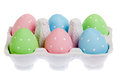 Pastel colored easter eggs in cardboard Stock Photography