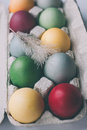 Pastel colored easter eggs with feather unusual in a box Royalty Free Stock Image