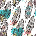 Pastel colored feather seamless background Royalty Free Stock Photo