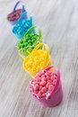 Pastel colored jelly beans for easter lined up in a row Royalty Free Stock Photo