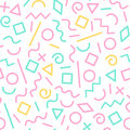Pastel colored memphis abstract geometric shapes seamless pattern, vector