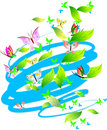 Pastel Colors Butterflies, Leaves and Scrolls. Royalty Free Stock Photography