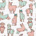 Pastel colors cartoon alpaca llamas herd seamless pattern. Hand drawn