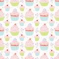 Pastel Cupcakes Food Vector Pattern