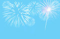 Pastel cyan colour background with fireworks celebration on Stock Photography