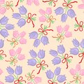Pastel floral bouquet pattern seamless of of flowers of color tied with a bow Stock Photography
