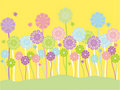 Pastel flowers and butterflies Stock Photography