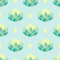 Pastel green and yellow succulents on pastel blue background.