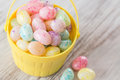 Pastel jelly beans in yellow basket from above many colored for easter Royalty Free Stock Photo