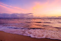 Pastel ocean waikiki sunset a colored over at beach on oahu hawaii Royalty Free Stock Images