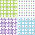 Pastel patterns set of four seamless in colors Stock Photography