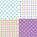 Pastel patterns set of four seamless in colors Royalty Free Stock Images