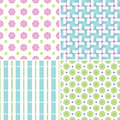 Pastel patterns set of four seamless in colors Royalty Free Stock Photos