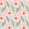 Pastel peony seamless pattern. Hand drawn elegance boho style botanical background  flowers and leaves soft colors  modern vector Royalty Free Stock Photo