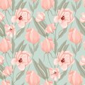 Pastel peony seamless pattern. Hand drawn elegance boho style botanical background, flowers and leaves soft colors, modern vector Royalty Free Stock Photo