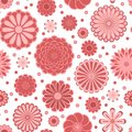 Pastel pink circle daisy flowers on white seamless pattern, vector Royalty Free Stock Photo