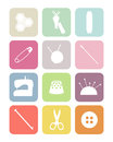 Pastel square sewing icons collection of colorful white isolated vector Royalty Free Stock Photo
